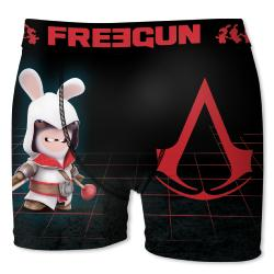Boxer Freegun Lapins Cretins motif assassins creeds black
